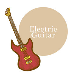 colored electric guitar in hand-drawn style vector image