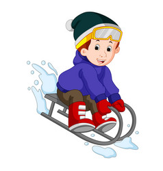 Cute boy sledding in snow vector