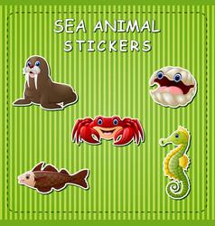 cute cartoon sea animals on sticker vector image