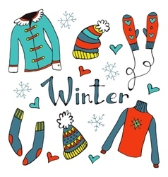 Cute hand drawn collection of winter clothing vector