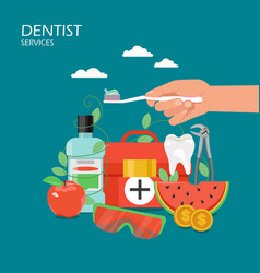 Dentist services flat style design vector