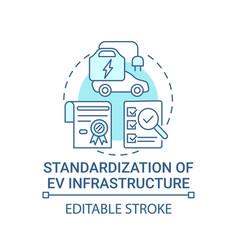 Ev infrastructure standardization concept icon vector