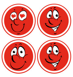 Facial expressions on red badges vector