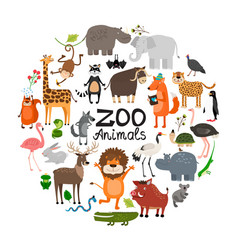 flat zoo animals round concept vector image