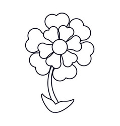 Flower ornament natural outline vector