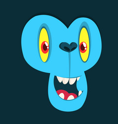 Funny cartoon monster face avatar vector