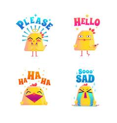 Funny chicken doodle set vector