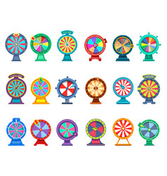 Gambling wheels fortune game and luck betting vector