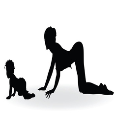 Girl and baby black silhouette vector