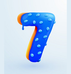 Glazed donut font number 7 number seven form vector