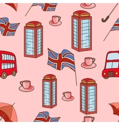 Great Britain symbols seamless pattern vector image