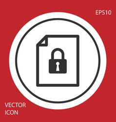 Grey document and lock icon isolated on red vector