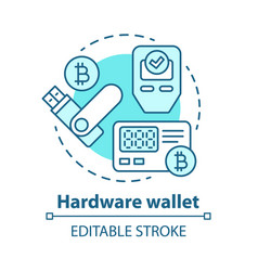 Hardware wallet blue concept icon storing private vector