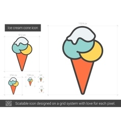Ice cream cone line icon vector