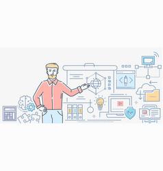 informatics lesson - colorful line design style vector image