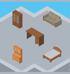 Isometric furniture set of cupboard couch table vector