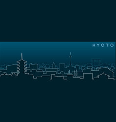 Kyoto multiple lines skyline and landmarks vector