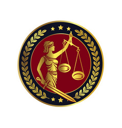 Lady justice themis emblem vector