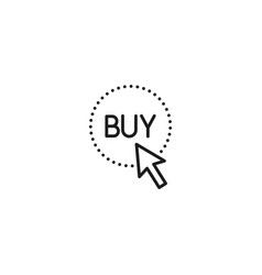 line arrow on buy button icon on white background vector image
