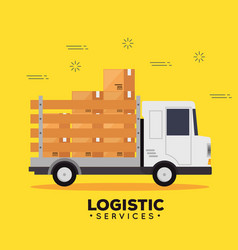 logistic services with truck vector image