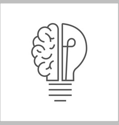 logo with a half light bulb and brain isolated vector image