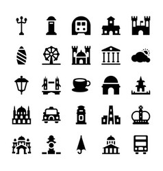 London places and landmarks glyph icons set vector