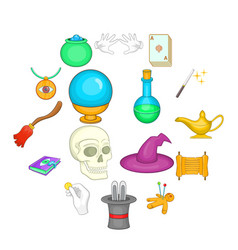 magic icons set cartoon style vector image