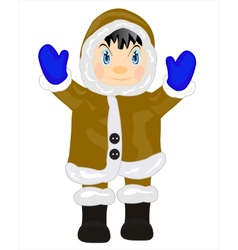 Man eskimo on white vector