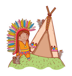 Man indigenous with squirrels and camping tent vector