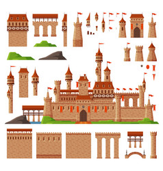 Medieval castle collection elements ancient vector