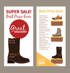 men brown winter and autumn boots vector image