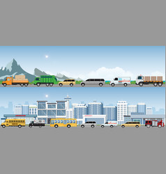 modern highways road with many different vehicles vector image