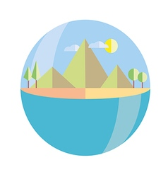 Mountains island in color flat vector
