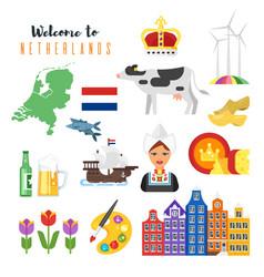 Netherlands national cultural symbols vector