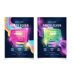 night club musical party cartoon flyers vector image