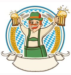 oktoberfest label with man and glasses of beer vector image