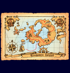 old pirate map skull island treasure map vector image