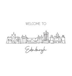 one continuous line drawing edinburgh city vector image