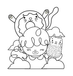 Outline girl with kawaii cats donut and ice lolly vector