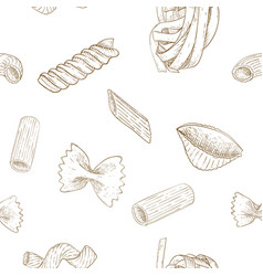 pasta set black and white sketch seamless pattern vector image