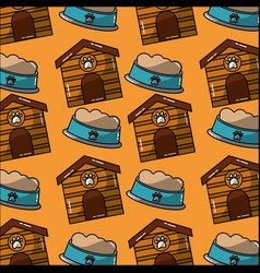 pet house and bowl food seamless pattern vector image