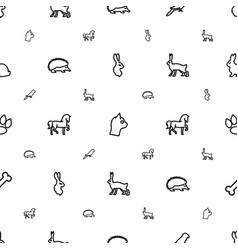 pet icons pattern seamless white background vector image