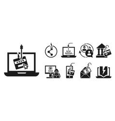 Phishing icon set simple style vector