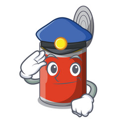 Police character canned food isolated on cartoon vector