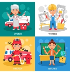 Professions 2x2 Design Concept vector image