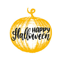 pumpkin with happy halloween vector image