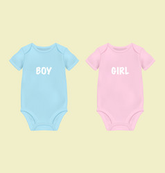 realistic blue and pink blank baby bodysuit vector image
