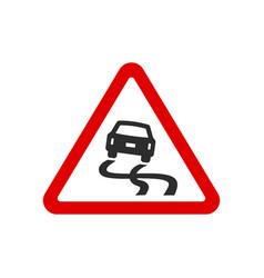 red triangle slippery road sign vector image