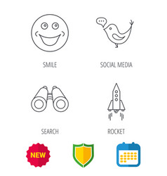 Rocket social media and search icons vector