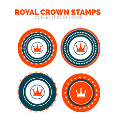 Royal crown stamp premium icon set vector